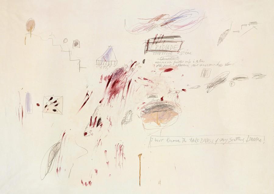 Cy Twombly, crayon sur papier. DR. Elise Vandel. Cabinet d'écritures